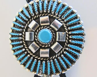 """Unique needlepoint turquoise bolo tie, Jason Yazzie concho, sterling tips, 36"""" lanyard"""