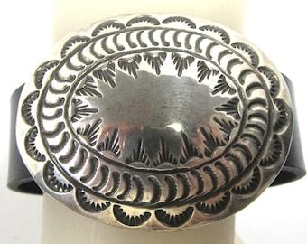"Massive vintage sterling silver concho bracelet, 7 1/2"", magnetic clasp"