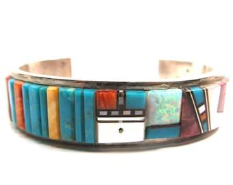 Sterling silver cobblestone cuff bracelet, signed by Navajo silversmith Al Manning.  6 1/2 inch wrist