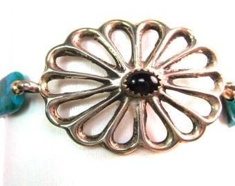 """Vintage sandcast sterling silver concho & turquoise link bracelet, 7 1/2"""""""