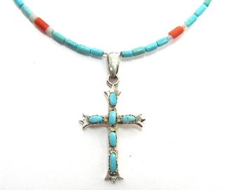 """Delicate sterling silver, coral and turquoise necklace with cross pendant, 20"""""""