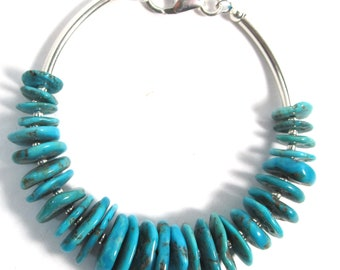 """Sterling silver bracelet with fine Kingman turquoise, 7"""" long, lobster clasp"""