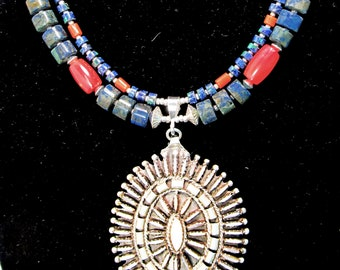 """sterling silver lapis & coral necklace, mop petit point concho, 2 strand, 24"""""""