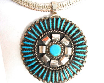 Native American sterling and turquoise pendant, heavy 6 MM sterling silver chain
