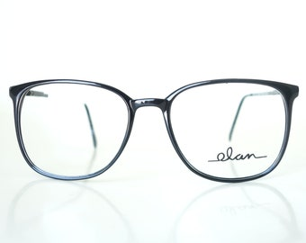 3649bf1a2e 1980s Round Wayfarer Glasses - Womens Black Retro Glasses - Fake Glasses -  1980s Oversized Frames - Eighties NOS Optical Frames