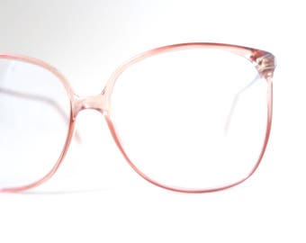 5a8ce4b807 1980s Clear Oversized Glasses - French Eyeglasses - Vintage Womens  Sunglasses - Clear Retro Sunglasses - Light Fawn Brown Glasses