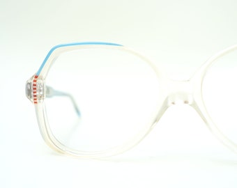 3f2df53dbb 1970s Oversized Womens Glasses - Vintage Italian Eyeglasses - Sky Blue  Optical Frames - Retro Fake Glasses - Bright Blue Eyeglasses