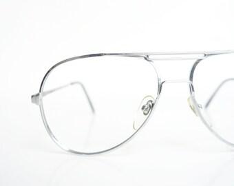 8e1bc6d5e01 1980s Mens Chrome Aviator Glasses – Mens Deadstock Real Vintage Eyeglasses  – Vintage 80s Shiny Silver Oversized Optical Frames