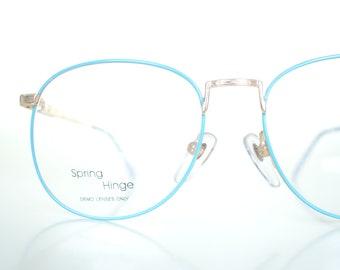 be7e0ead1c 1980s Round Teal Glasses - Bright Blue Vintage Glasses - Teens Wayfarer  Glasses - Fake Glasses - Deadstock Vintage Optical Frames