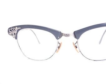 a65fec540e8867 Vintage blauwe Art Craft kat bril-jaren 1950 Cateye brillen gemaakt in de  VS-Dusty Blue 50s Cat Eye zonnebril-Art Craft optisch
