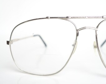 c03273ff0e Silver Avaitor Sunglasses – Mens Silver Wire Frame Eyeglasses – Mens Retro  Aviator Glasses – 1980s Metallic Silver Aviator Optical Frames