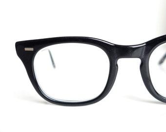 5fa6b1244c 1950s Mens Horn Rim Glasses – Glossy Black Mens Horn Rim Vintage Eyeglasses  – Mens Mid Century Modern Optical Frames – 50s Horn Rim Glasses