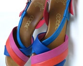 Rainbow Colorblock Vintage Strappy Sandals Womens Y M Resort BEACH Summer