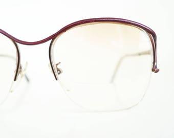 632ce5951c5 Vintage Tura Eyeglasses - Leather Detail Wire Frame Glasses - Authentic  Vintage Tura Optical Frames - Dark Oxblood Red Frames - Vintage NOS