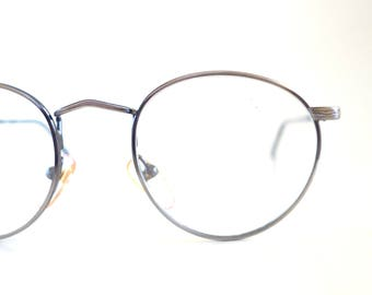 26974140ba Round Wire Rim Glasses - Womens Round 1980s Optical Frames - Antique Silver  Vintage Finish - Oliver and Alexa Eyewear