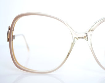 4a8b32b9d9 White Pearl Eyeglasses – Womens Oversized 1980s Glasses – Clear Glasses –  Fake Vintage Glasses – Clear Optical Frames with Golden Detail