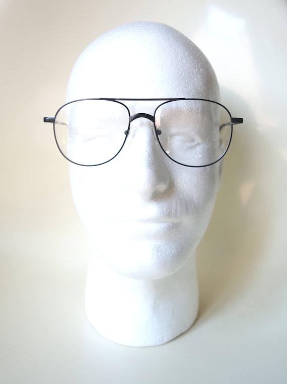1980s Oversized Aviator Glasses - Eighties Black … - image 4
