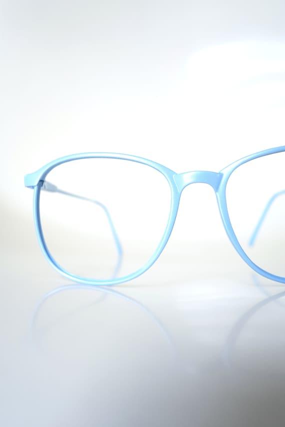 Vintage 1980s Round Blue Glasses - Light Ice Blue… - image 1