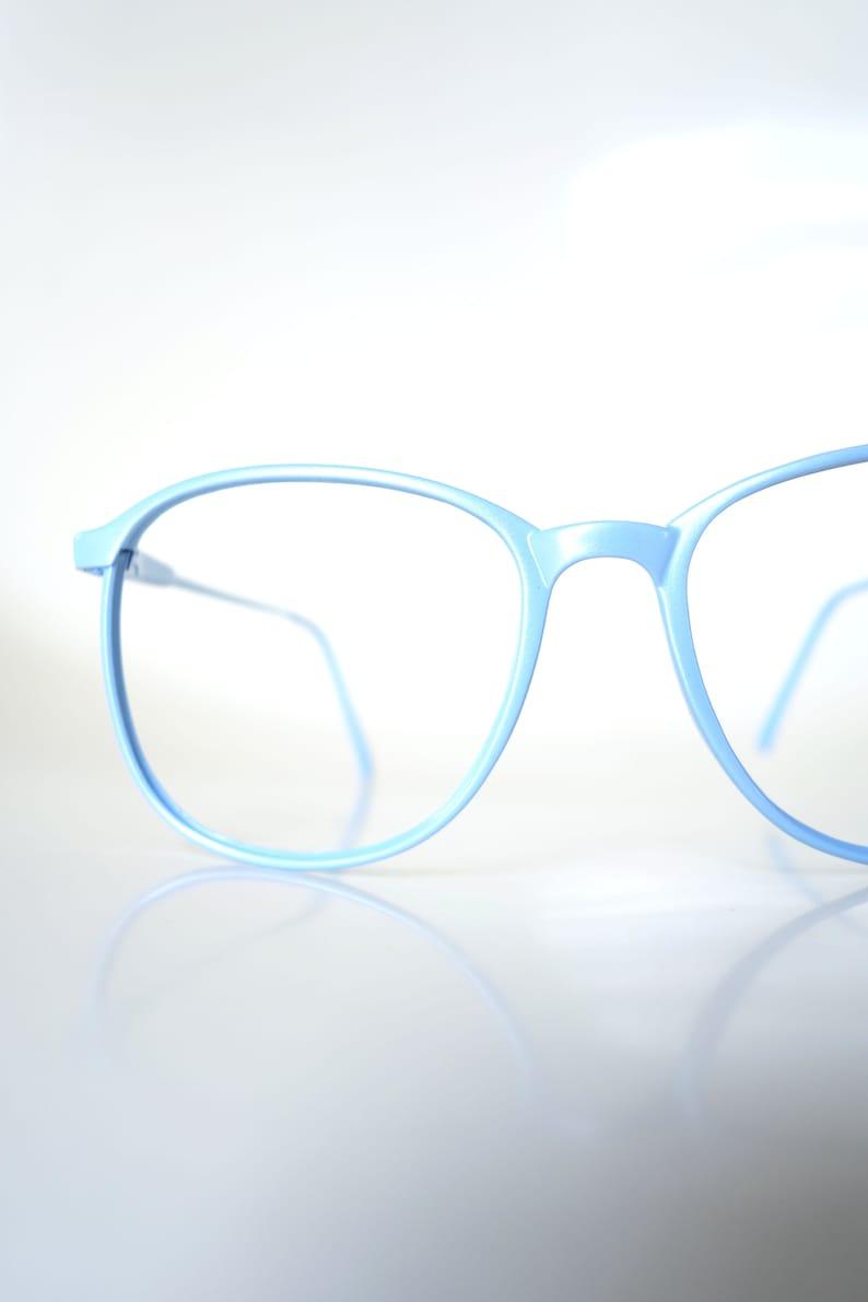 fd2b73112aa6 Vintage 1980s Round Blue Glasses Light Ice Blue Sunglasses