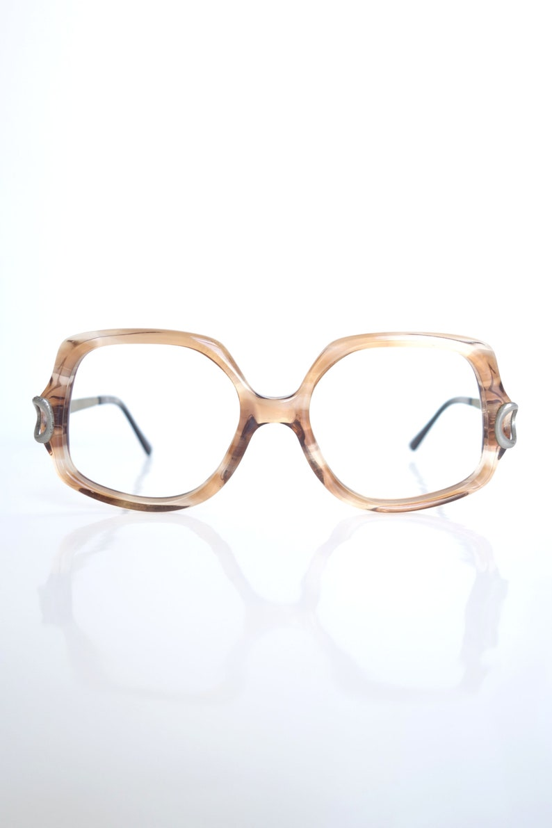0167dd4e09d 1970s Oversized Eyeglasses – Light Fawn Brown Glasses – French Eyeglass  Frames – Vintage L Amy Eyeglasses that are Made in France