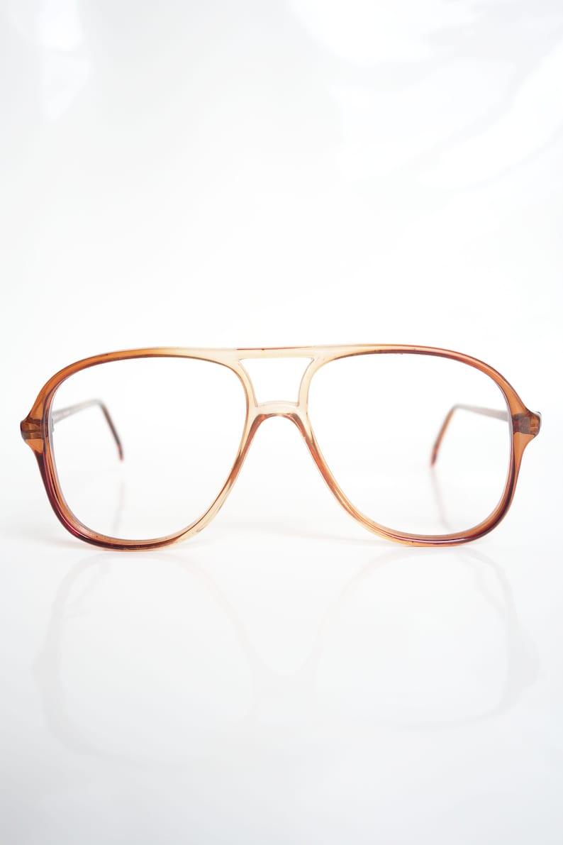 c5d49601f60 1980s Oversized Brown Aviator Eyeglasses Mens Oversized