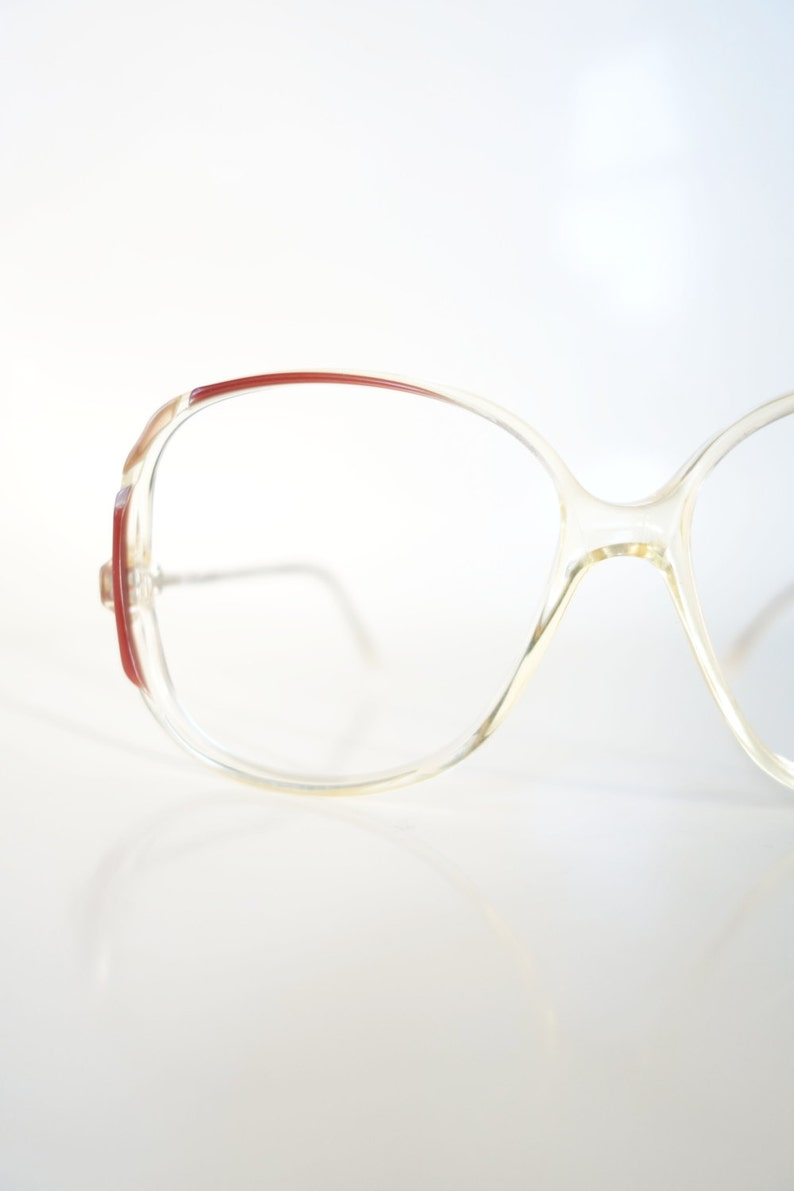 3f5039be32 1980s Clear Oversized Glasses Vintage Transparent Optical