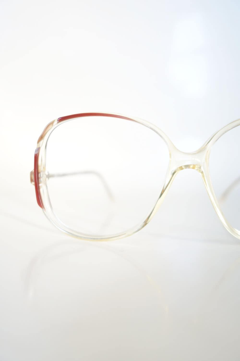 62504fdba1d 1980s Clear Oversized Glasses Vintage Transparent Optical