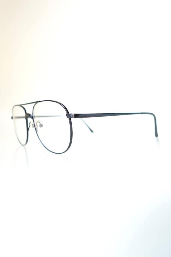 1980s Oversized Aviator Glasses - Eighties Black … - image 2