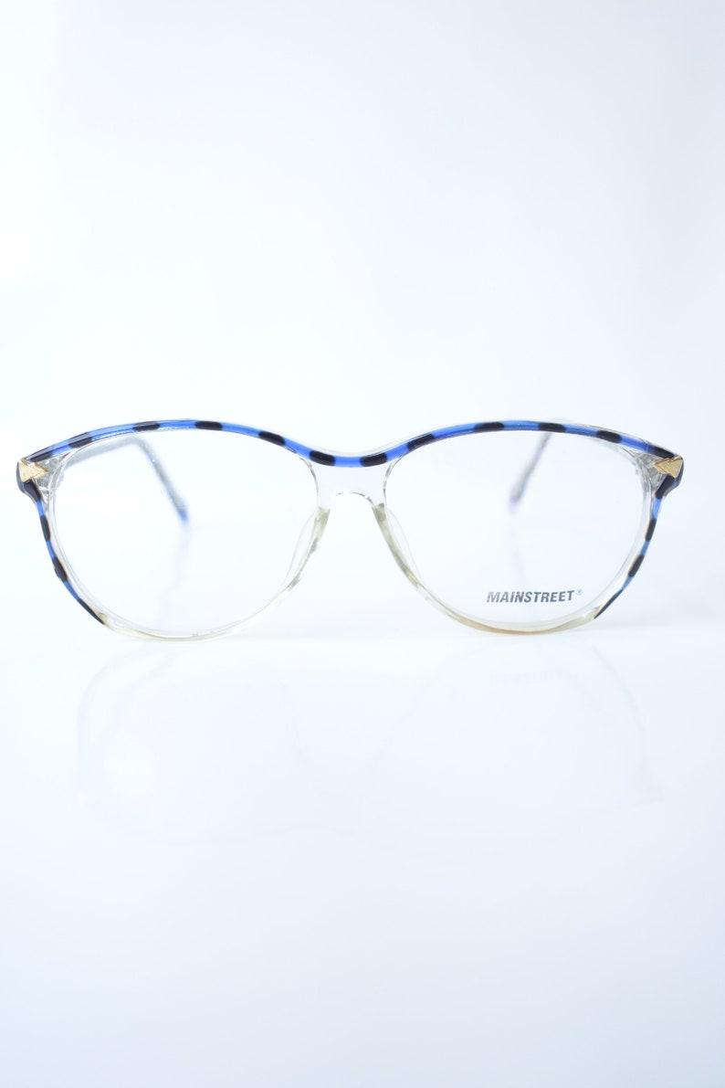Sapphire Blue Vintage Eyeglasses – Womens 1980s Cat Eye Glasses – Mottled Blue Tortoiseshell and Black Clear Glasses - Cat Eye Sunglasses