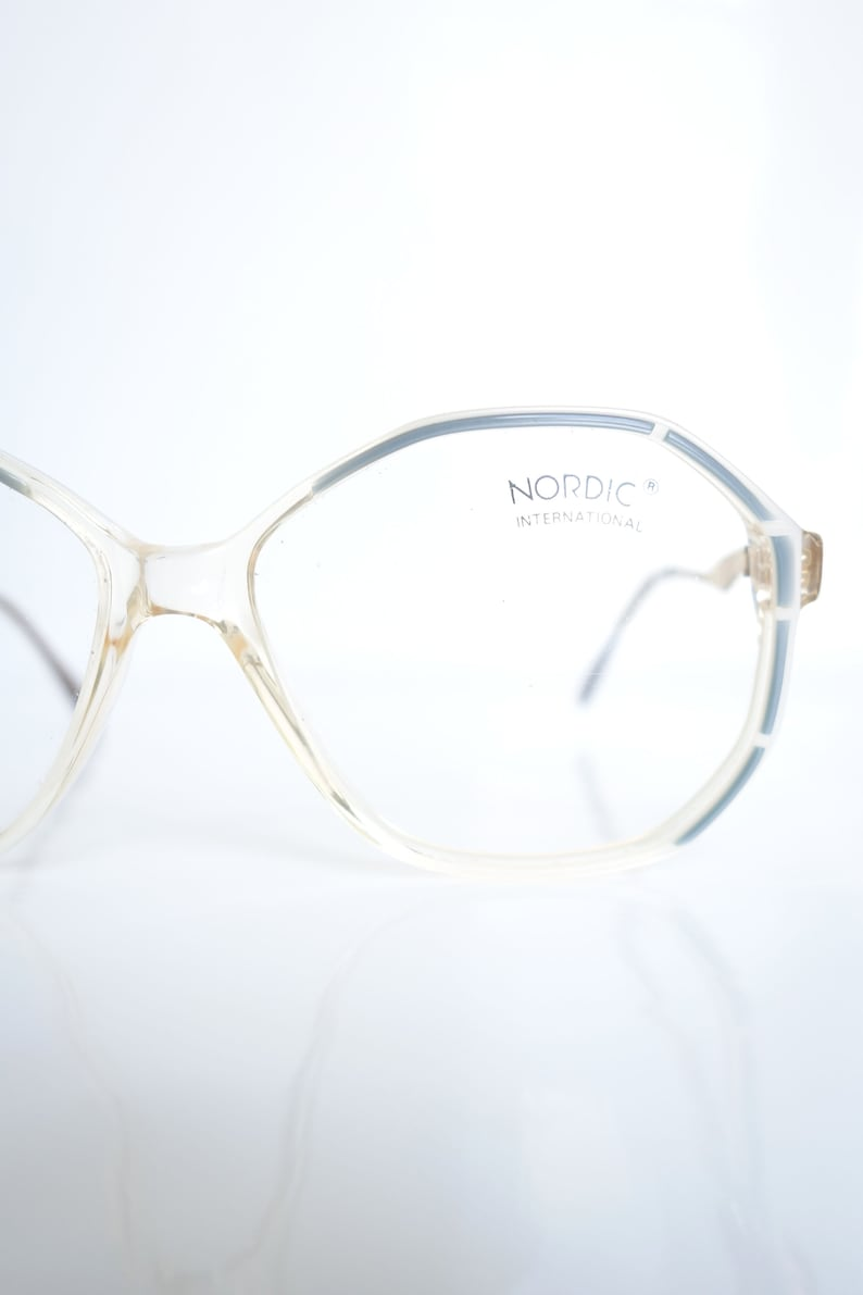 a4276aff1a9 Vintage White and Blue Eyeglasses Pearl White and Pastel