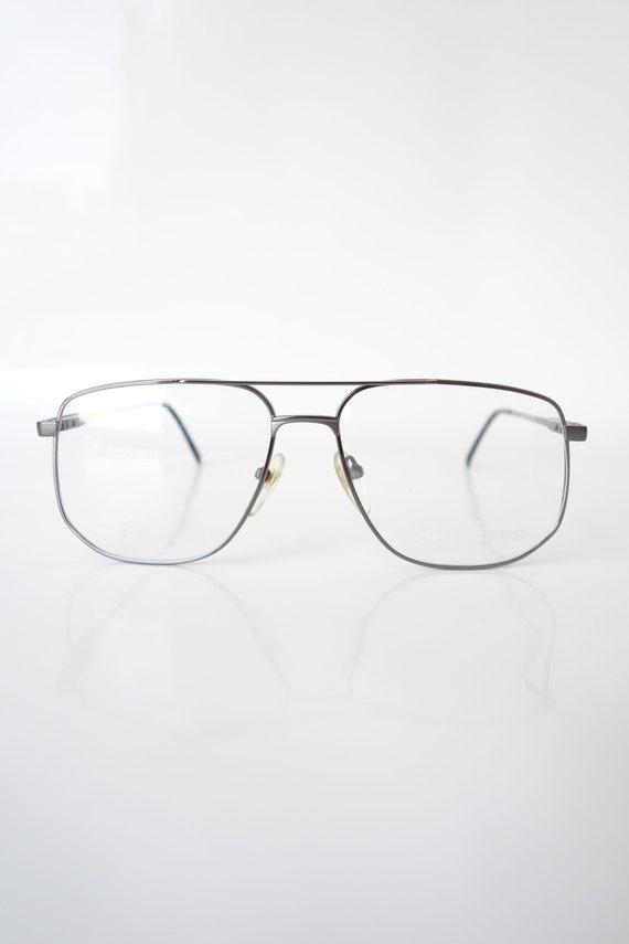 Shiny Chrome Aviator Eyeglass Frames – Vintage Me… - image 2