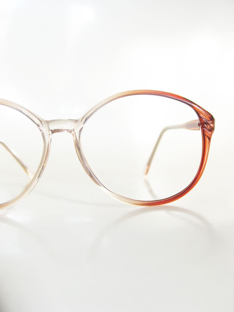 5282466c75 1980s Round Womens Eyeglasses Clear and Red Glasses 1980s