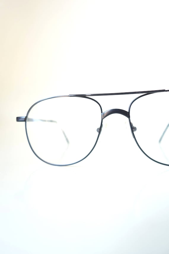 1980s Oversized Aviator Glasses - Eighties Black A