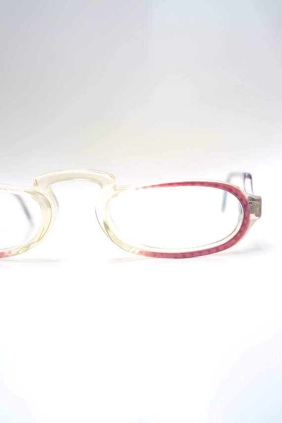 Clear Glasses with Light Grey Detail NOS Vintage Optical Frames Womens 90s Matrix Glasses Small Oval Glasses 1990s Small Y2k Glasses