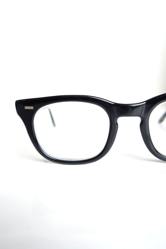 1950s Mens Horn Rim Glasses Glossy Black
