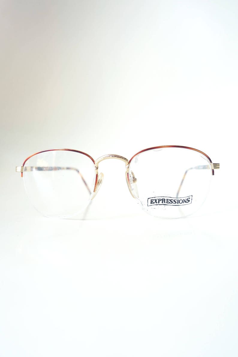 7b06bd9a4e1 Womens Round Half Moon Glasses Half Frame Eyeglasses Gold