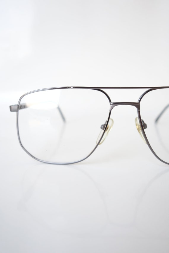 Shiny Chrome Aviator Eyeglass Frames – Vintage Me… - image 1