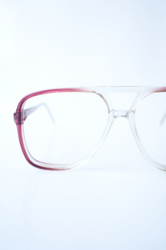 Womens Vintage Aviator Eyeglasses – Clear and Red