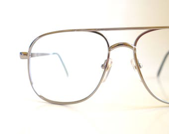 a6944fa45e5 Metallic Silver Aviator 1980s Mens Glasses Guys Eyeglasses Retro Optical  Frames Shiny Hip Hop Chic Indie Hipster Accessories 80s Eighties