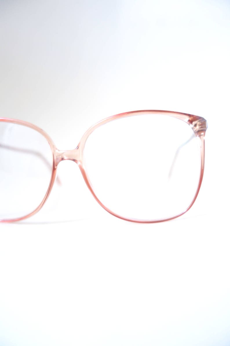 ff219ea98c9 1980s Clear Oversized Glasses - French Eyeglasses - Vintage Womens  Sunglasses - Clear Retro Sunglasses - Light Fawn Brown Glasses