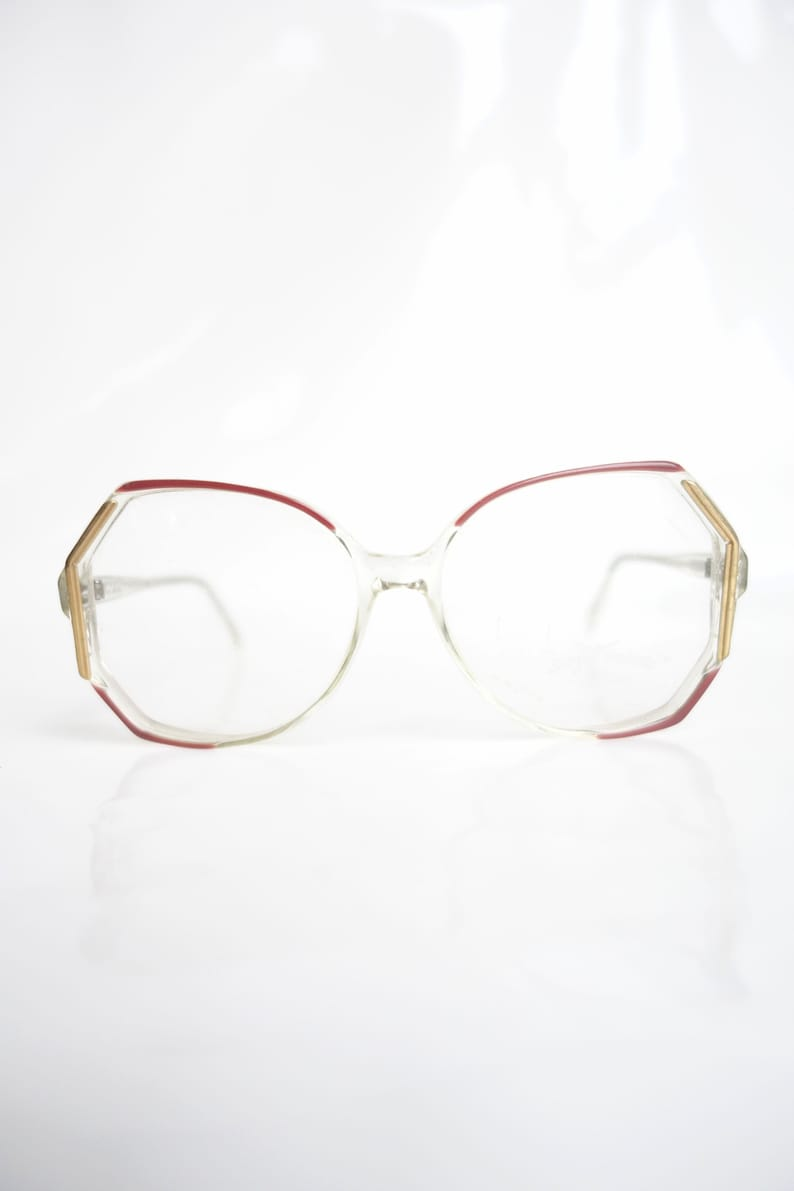 78e303d510 Vintage 1980s Clear and Oxblood Red Glasses Oversize 80s