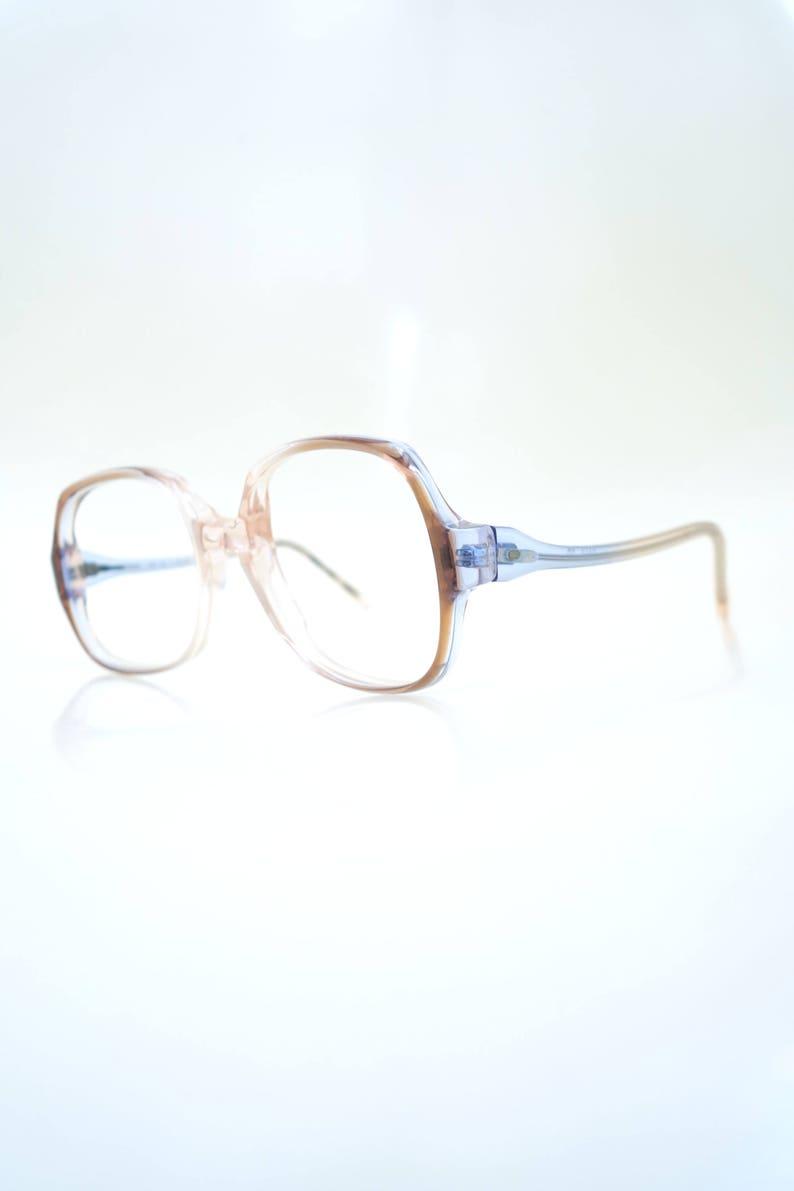 812a4db28d 1960s Clear Eyeglasses - Mod Boxy Eyeglass Frames - Womens Boxy Optical  Frames - Light Blue and Pink Clear Frames