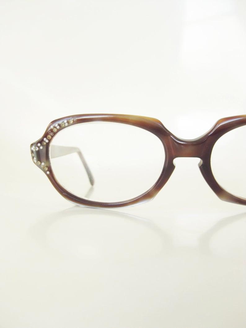 20d1668a791 1950s Rhinestone Eyeglasses Womens Vintage 50s Boxy Glasses