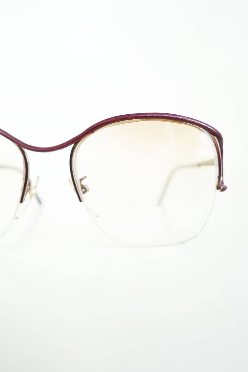 2cfdee55075 Vintage Tura Eyeglasses Leather Detail Wire Frame Glasses