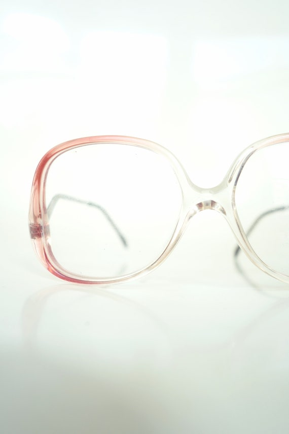 1980s New Wave Clear Eyeglasses Pink Clear Vintage Glasses | Etsy