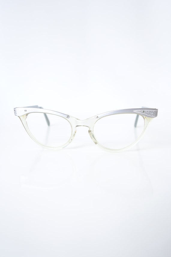 Womens Cat Eye Glasses – NOS Vintage Silver Cat Ey