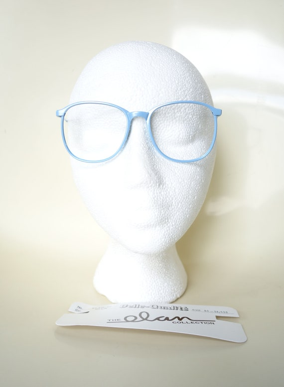Vintage 1980s Round Blue Glasses - Light Ice Blue… - image 7