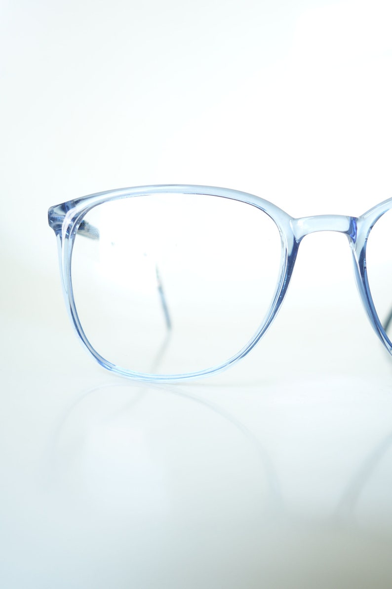 289d2d865b 1980s Blue Eyeglasses Vintage French Glasses Clear Blue