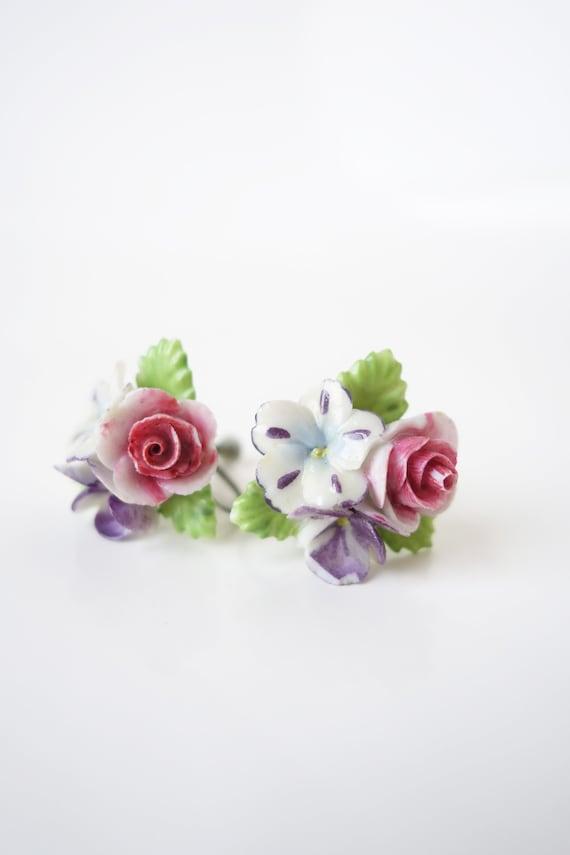 Delicate Porcelain Floral Screw Back Earrings – Vi