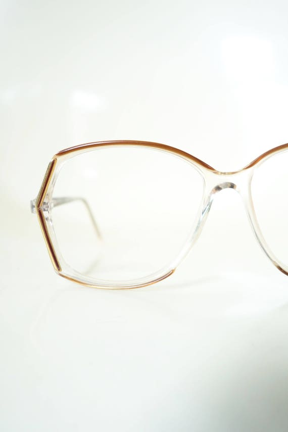 76c355cc9f 1970s Festival Glasses in Gold and Clear Oversized Womens